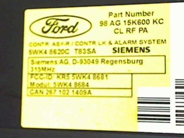 Блок управления (ЭБУ) Ford 98 AG 15K600KC/ Siemens 5WK4 8620C Ford Focus 1 1998-2004 861205EC